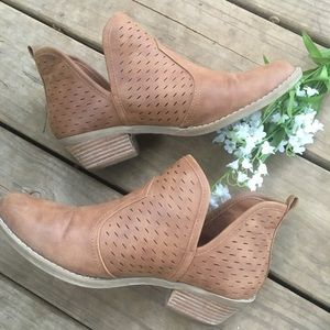 Tan vegan leather cut out ankle booties. Size 9.